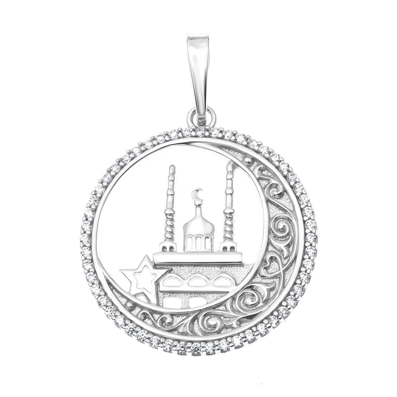 Серебряная подвеска с фианитом AQUAMARINE #460036