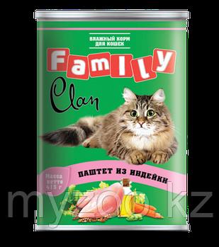 CLAN FAMILY влажный корм для кошек паштет из Индейки, профилактика МКБ 415 гр