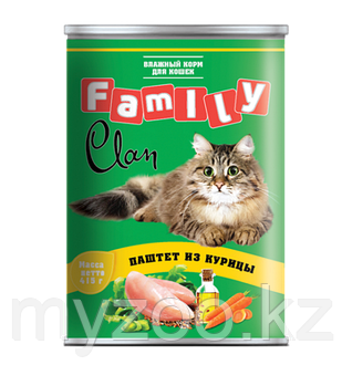 CLAN FAMILY влажный корм для кошек паштет из Курицы, профилактика МКБ 415 гр