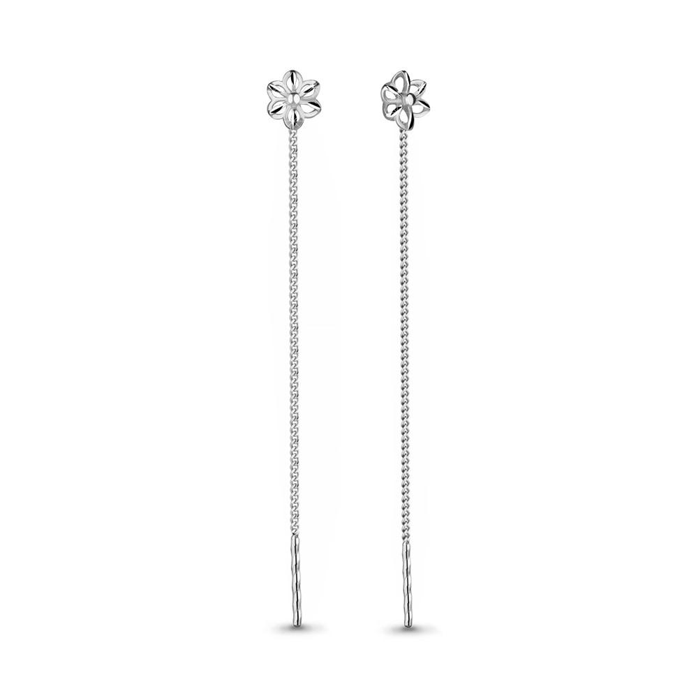 Серебряные серьги-протяжки AQUAMARINE (#708578)
