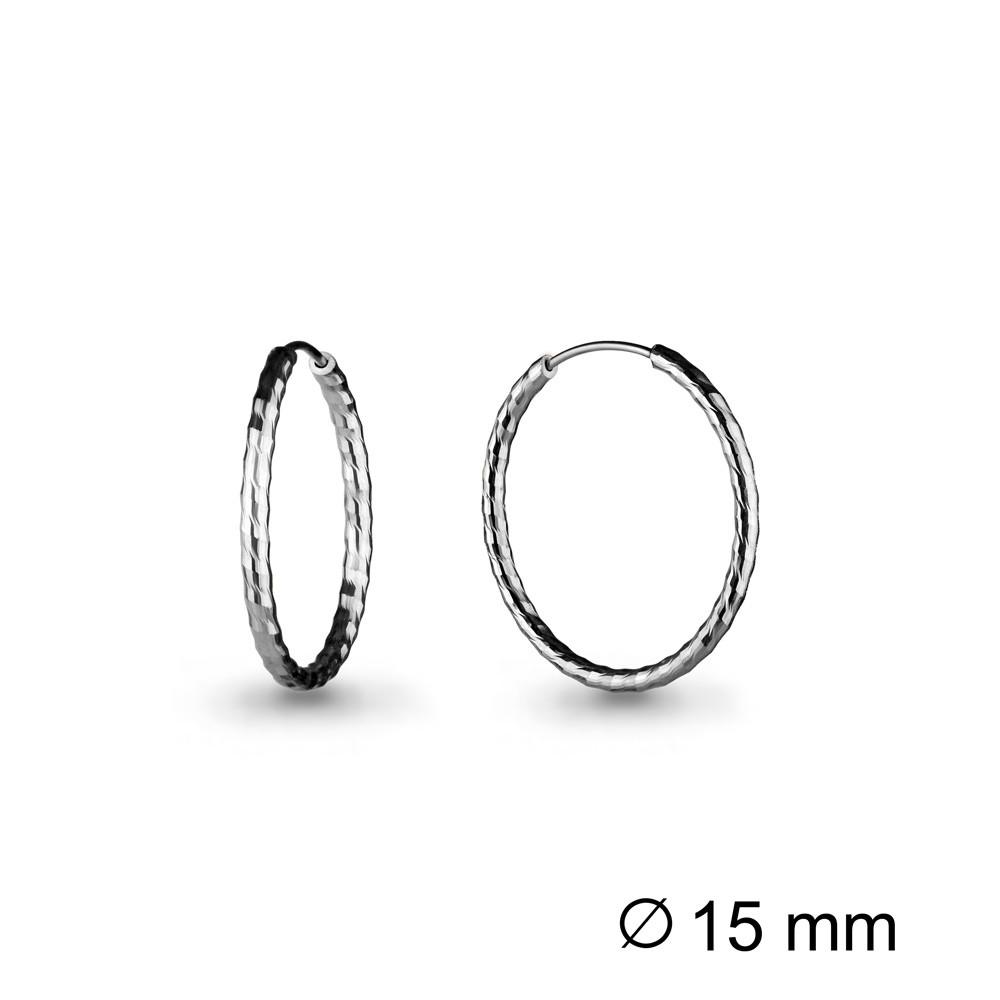 Серебряные серьги-кольца AQUAMARINE (#708579)