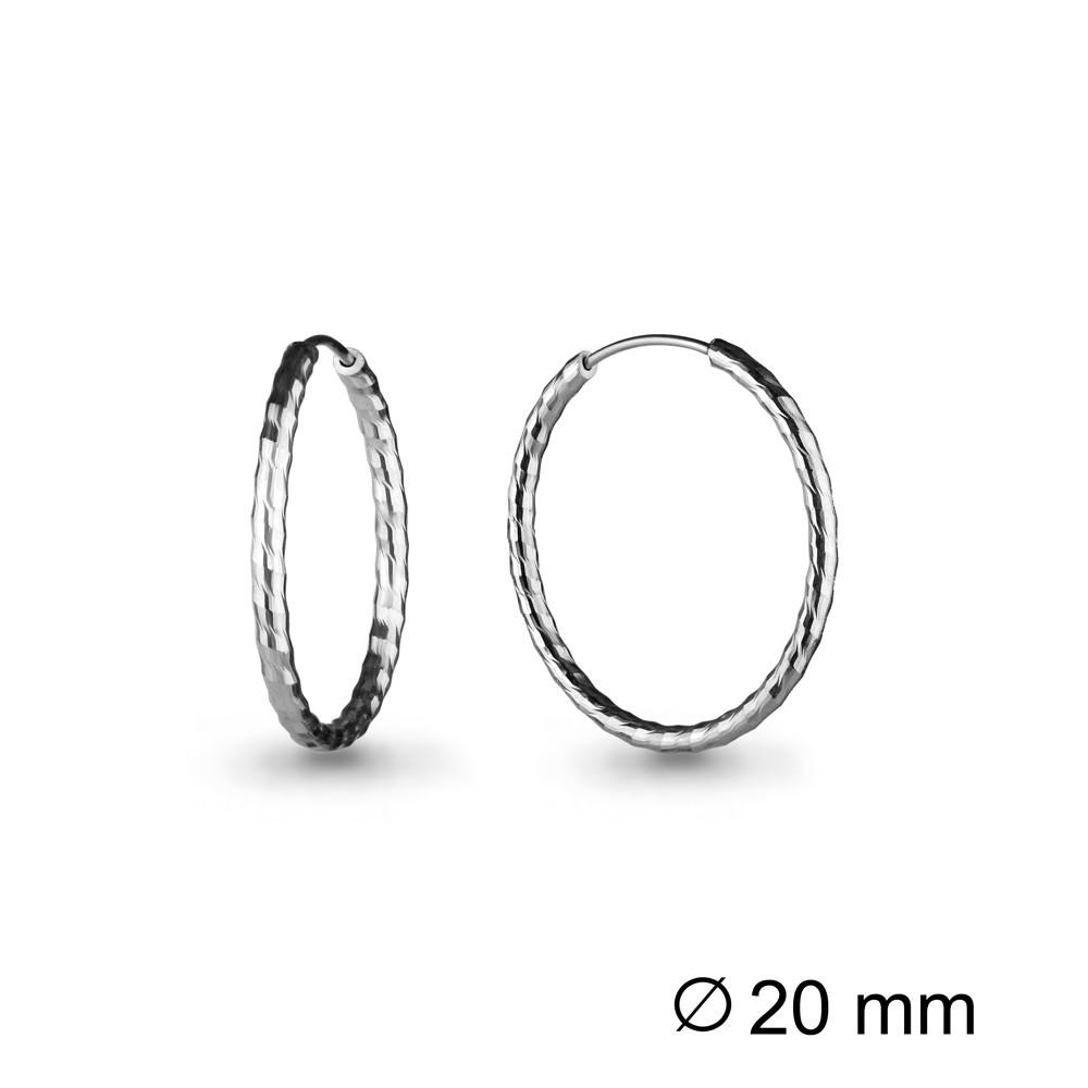 Серебряные серьги-кольца AQUAMARINE (#711822)