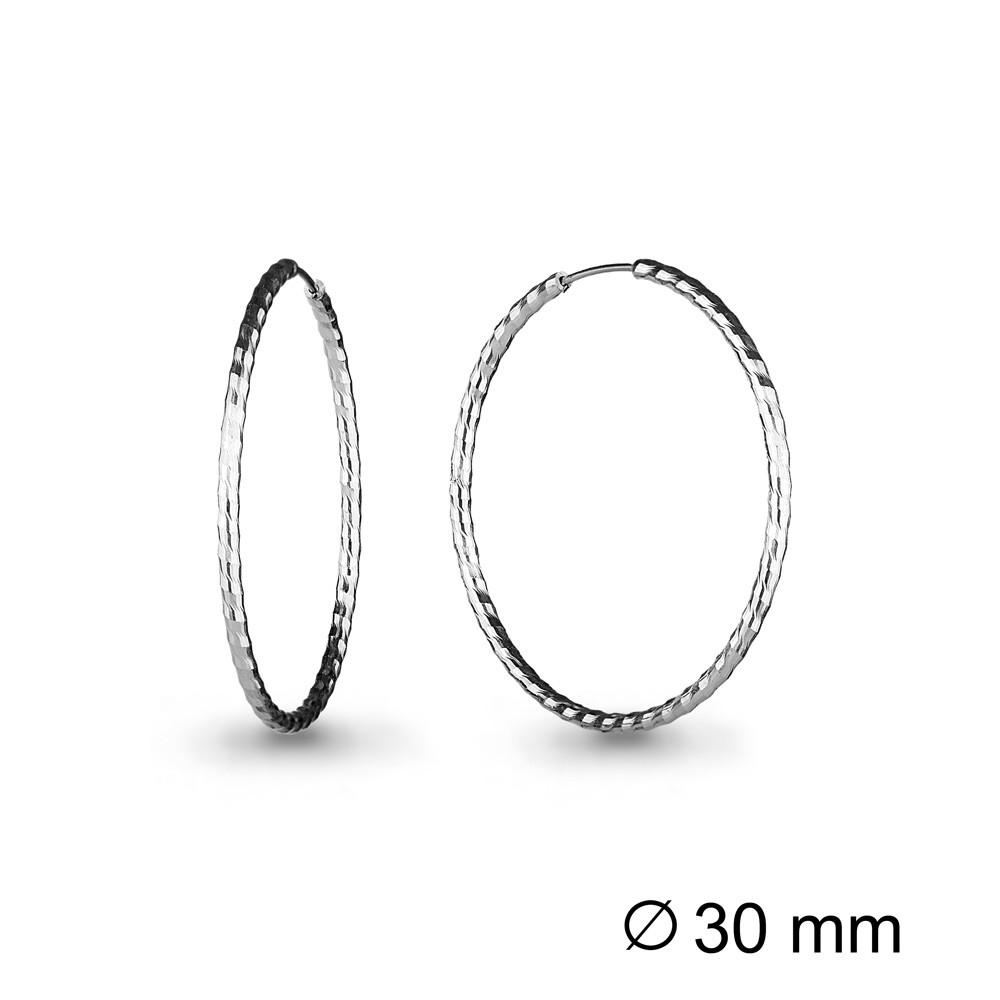 Серебряные серьги-кольца AQUAMARINE (#708657)