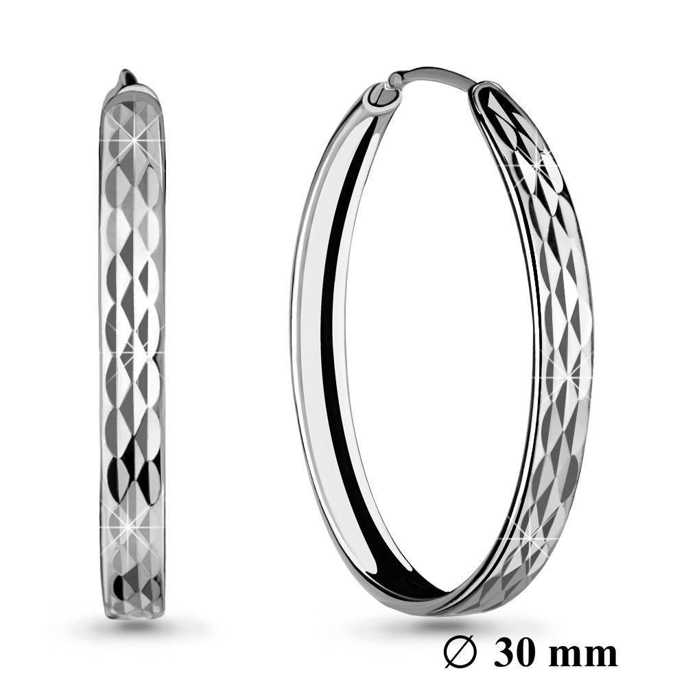 Серебряные серьги-кольца AQUAMARINE (#708665)
