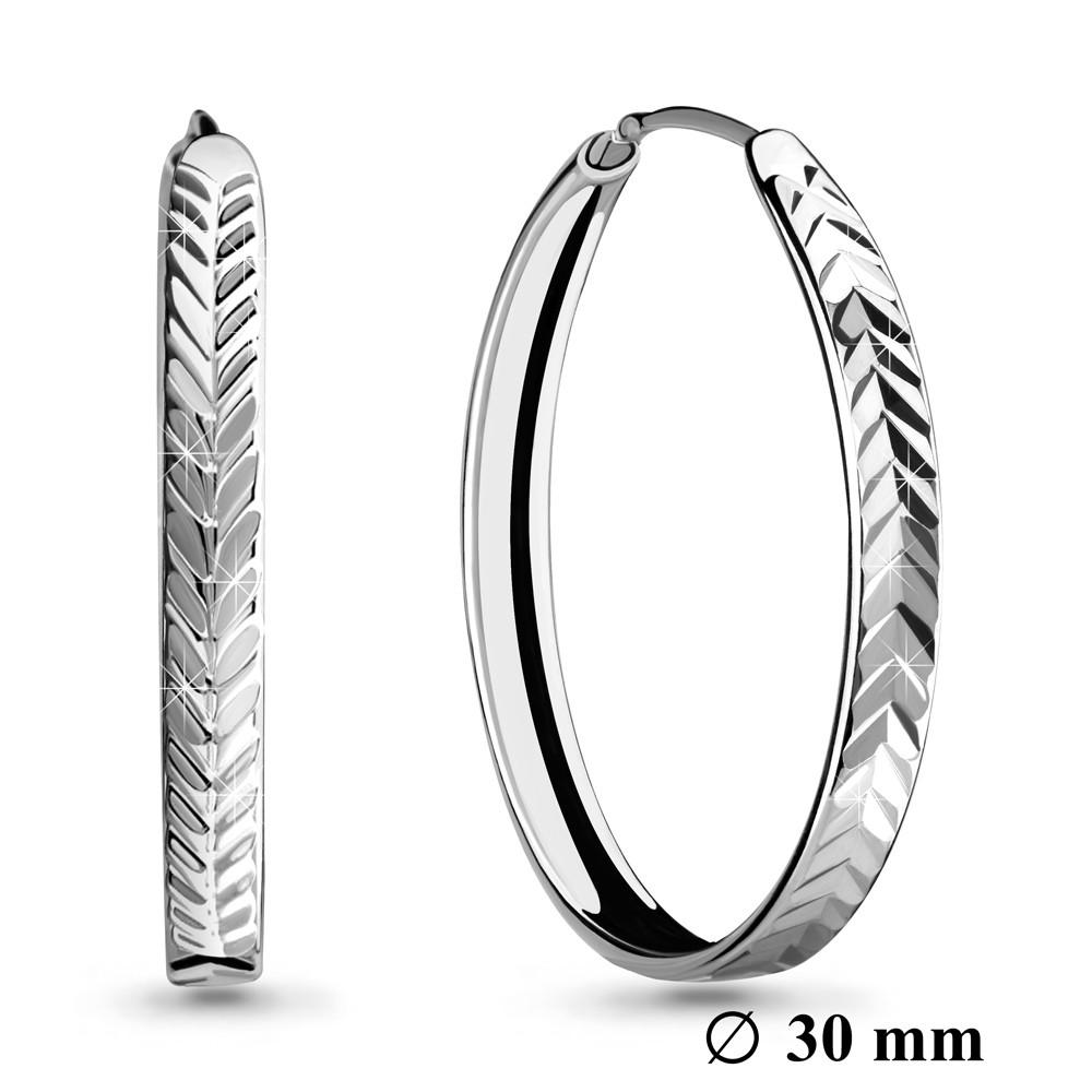 Серебряные серьги-кольца AQUAMARINE (#708664)