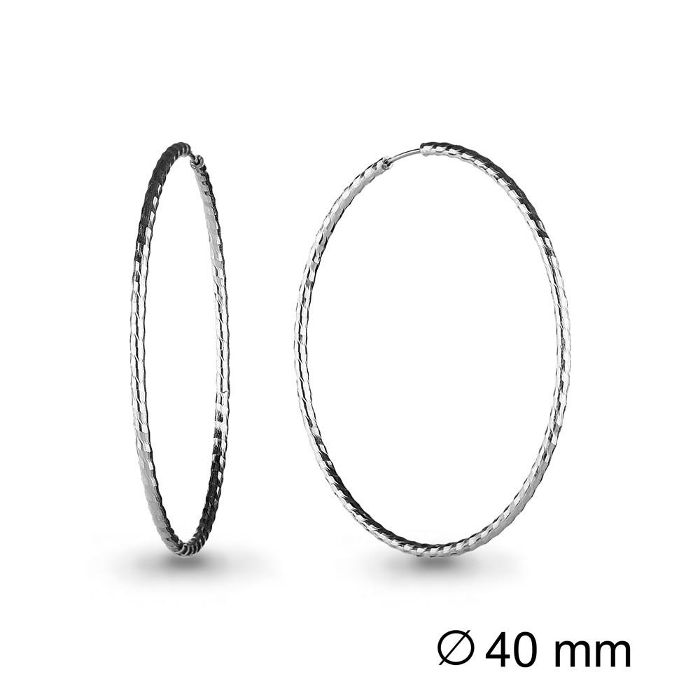 Серебряные серьги-кольца AQUAMARINE (#711823)