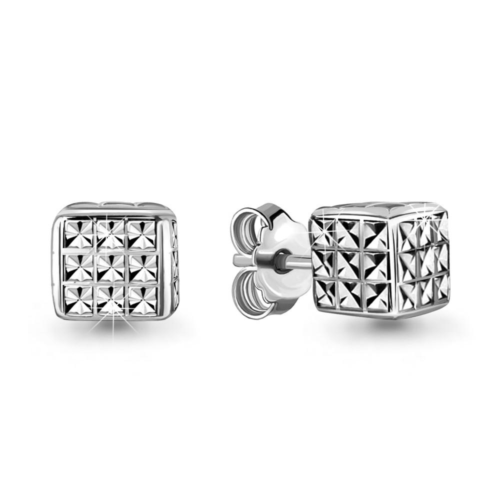 Серебряные серьги-пуссеты AQUAMARINE (#706639)
