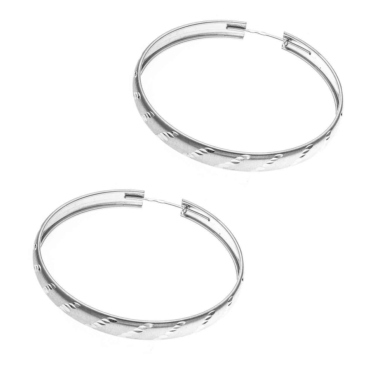 Серебряные серьги-кольца AQUAMARINE (#664919)