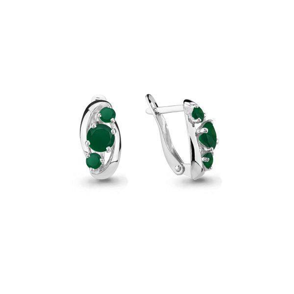 Серебряные Серьги-подвески с агатом зелёным AQUAMARINE (#697805)