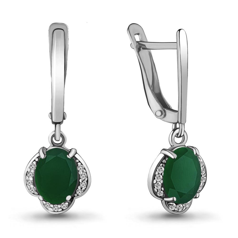 Серебряные Серьги-подвески с агатом зелёным AQUAMARINE (#706530)