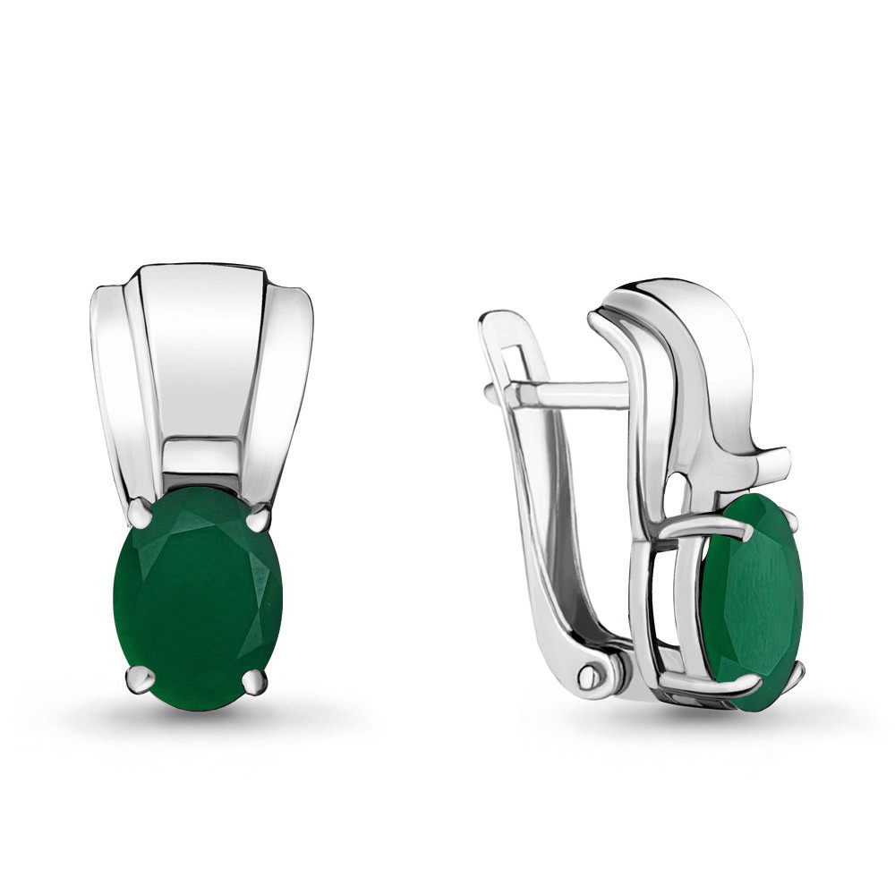 Серебряные серьги-классические с агатом зелёным AQUAMARINE (#709026)