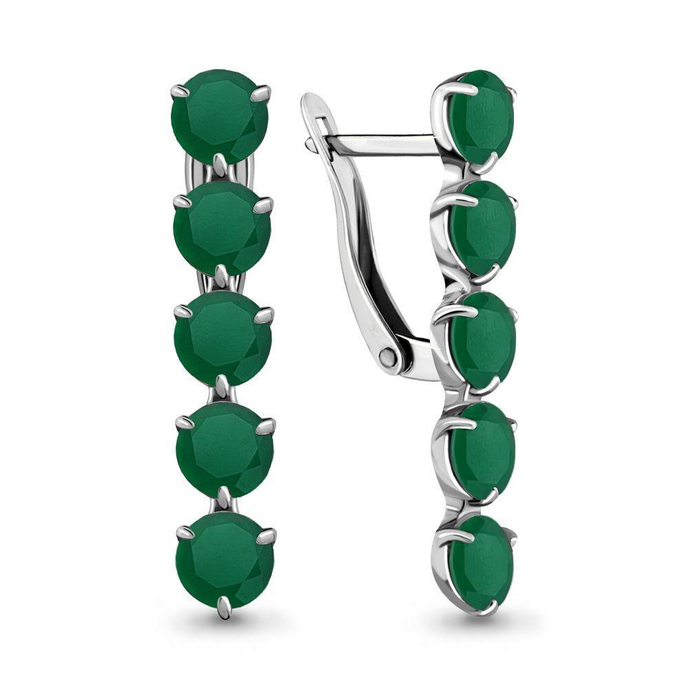 Серебряные серьги-протяжки с агатом зелёным AQUAMARINE (#697832)
