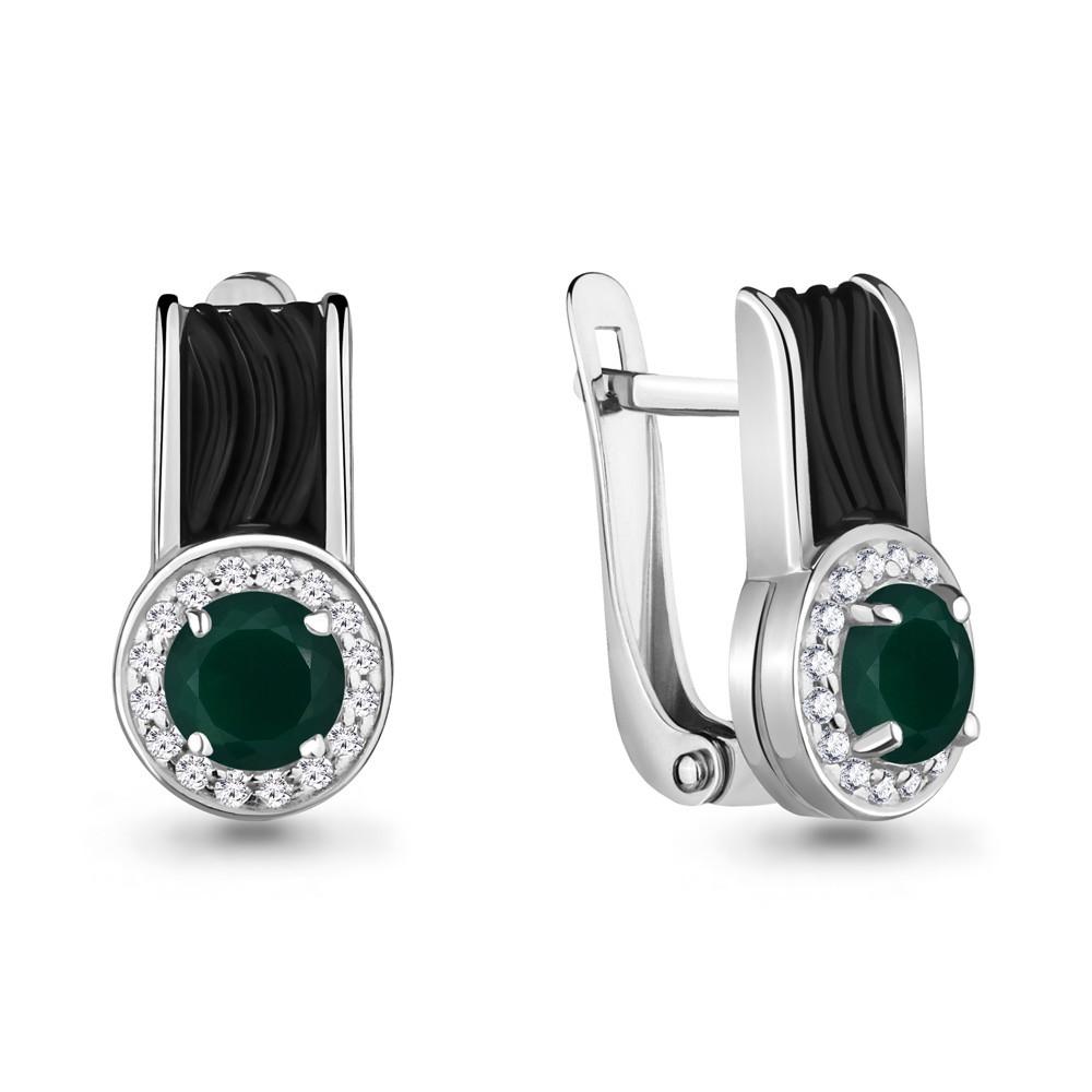 Серебряные серьги-классические с агатом зелёным и керамикой AQUAMARINE (#700303)