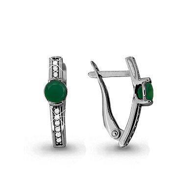 Серебряные Серьги-подвески с агатом зелёным и фианитом AQUAMARINE (#697812)