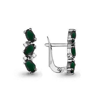 Серебряные серьги-классические с агатом зелёным и фианитом AQUAMARINE (#697825)