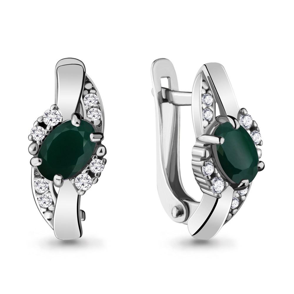 Серебряные серьги-классические с агатом зелёным и фианитом AQUAMARINE (#709053)