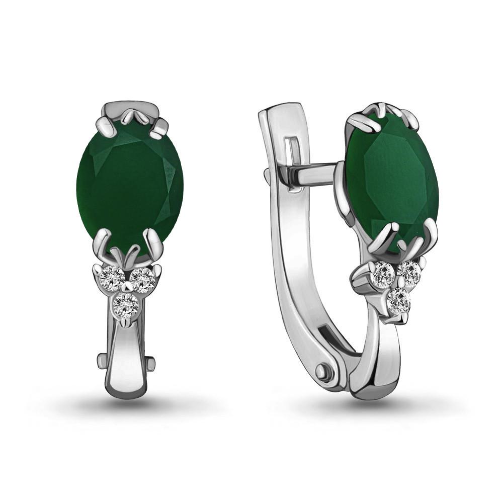 Серебряные серьги-классические с агатом зелёным и фианитом AQUAMARINE (#407740)