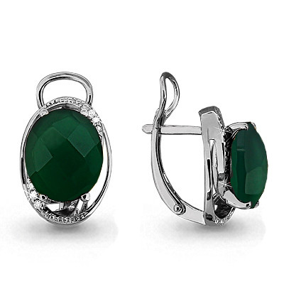 Серебряные серьги-классические с агатом зелёным и фианитом AQUAMARINE (#708929)