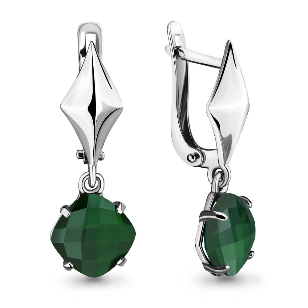 Серебряные Серьги-подвески с агатом зеленым AQUAMARINE (#675845)