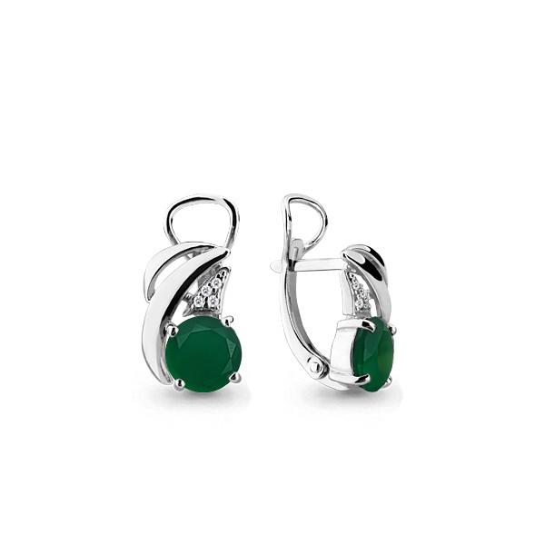 Серебряные Серьги-подвески с агатом зеленым AQUAMARINE (#582423)