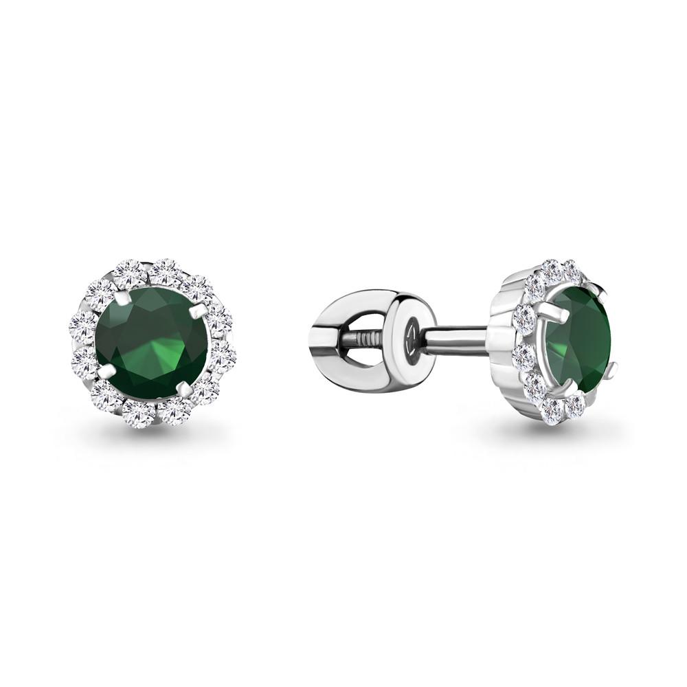 Серебряные серьги-пуссеты с агатом зеленым и фианитом AQUAMARINE (#656964)