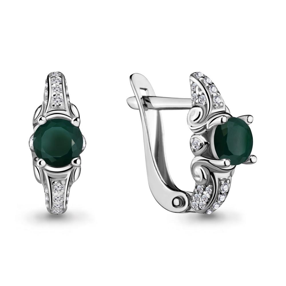 Серебряные серьги-классические с агатом зеленым и фианитом AQUAMARINE (#407351)