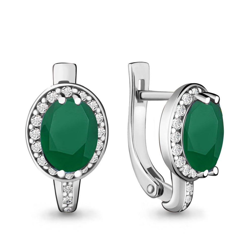 Серебряные серьги-классические с агатом и агатом зелёным AQUAMARINE (#447709)