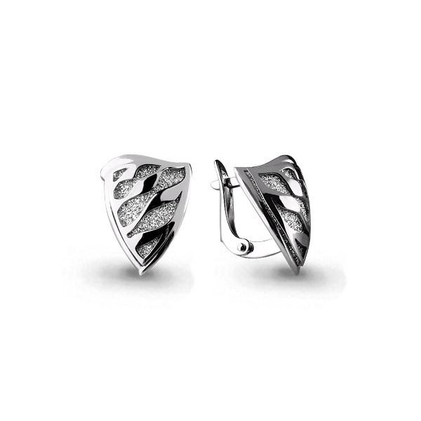 Серебряные серьги-классические с алмазной крошкой AQUAMARINE (#404883)