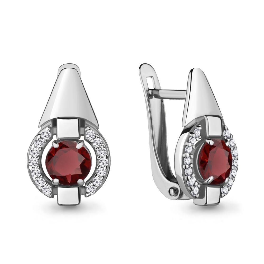 Серебряные серьги-классические с гранатом AQUAMARINE (#700153)