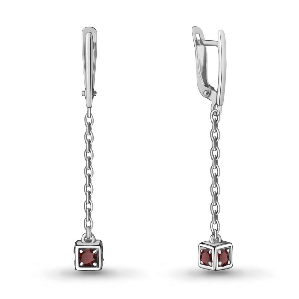 Серебряные серьги-протяжки с гранатом AQUAMARINE (#712931)