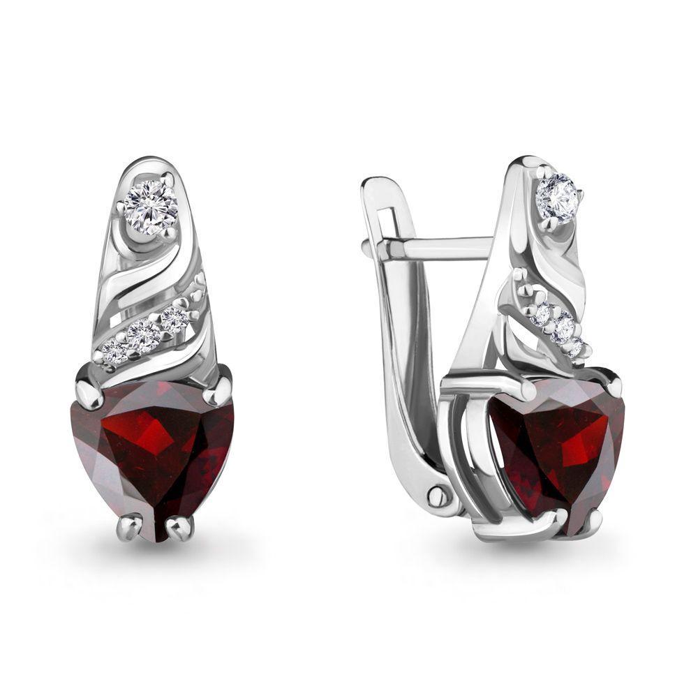 Серебряные серьги-классические с гранатом и фианитом AQUAMARINE (#697755)