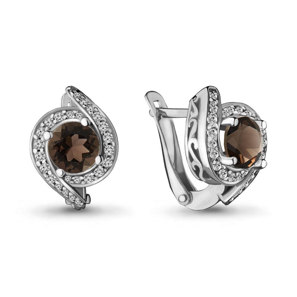 Серебряные серьги-классические с кварцем дымчатым AQUAMARINE (#708909)