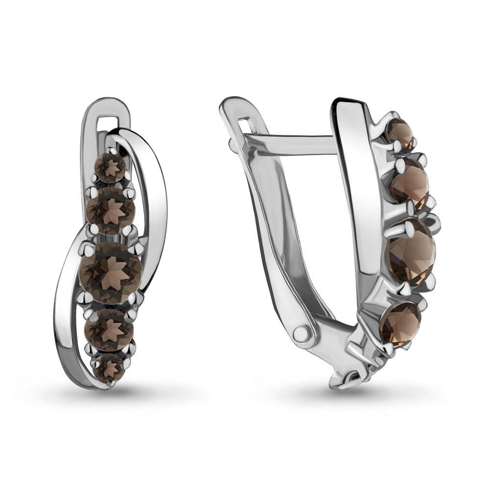 Серебряные серьги-классические с кварцем дымчатым AQUAMARINE (#708916)