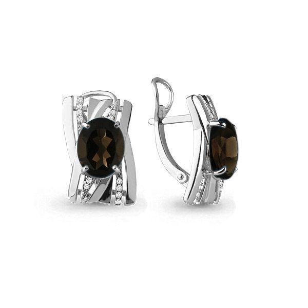 Серебряные серьги с кварцем и кварцем дымчатым AQUAMARINE #697758