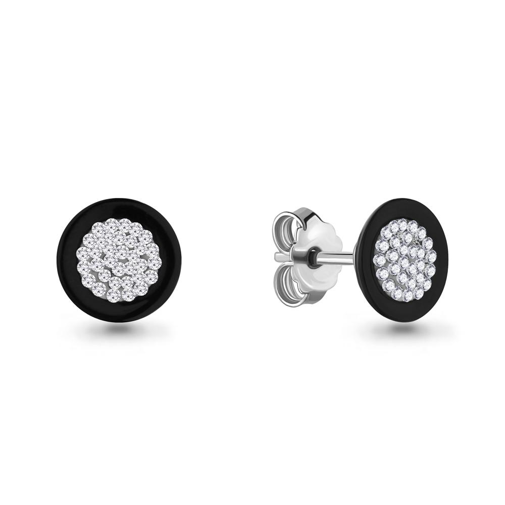 Серебряные серьги-пуссеты с керамикой и стеклом AQUAMARINE (#687395)