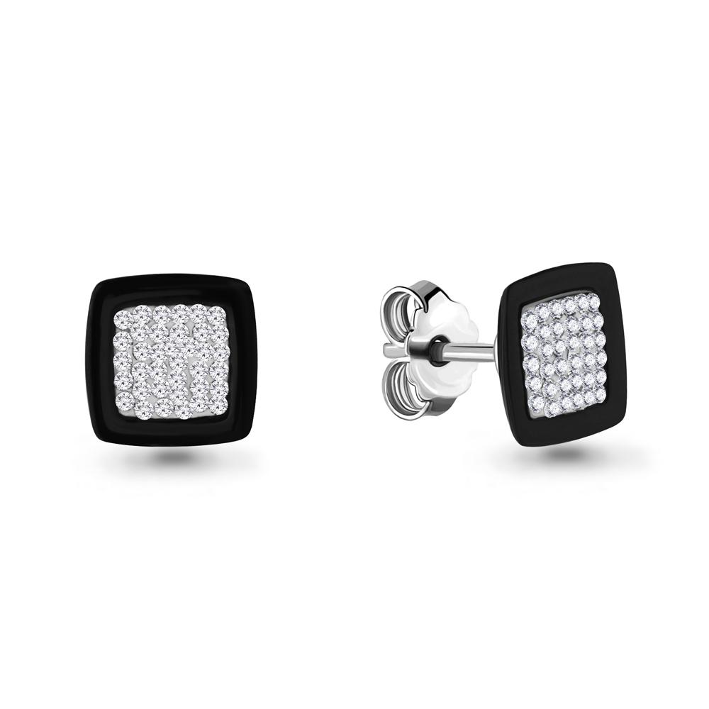 Серебряные серьги-пуссеты с керамикой и стеклом AQUAMARINE (#687396)
