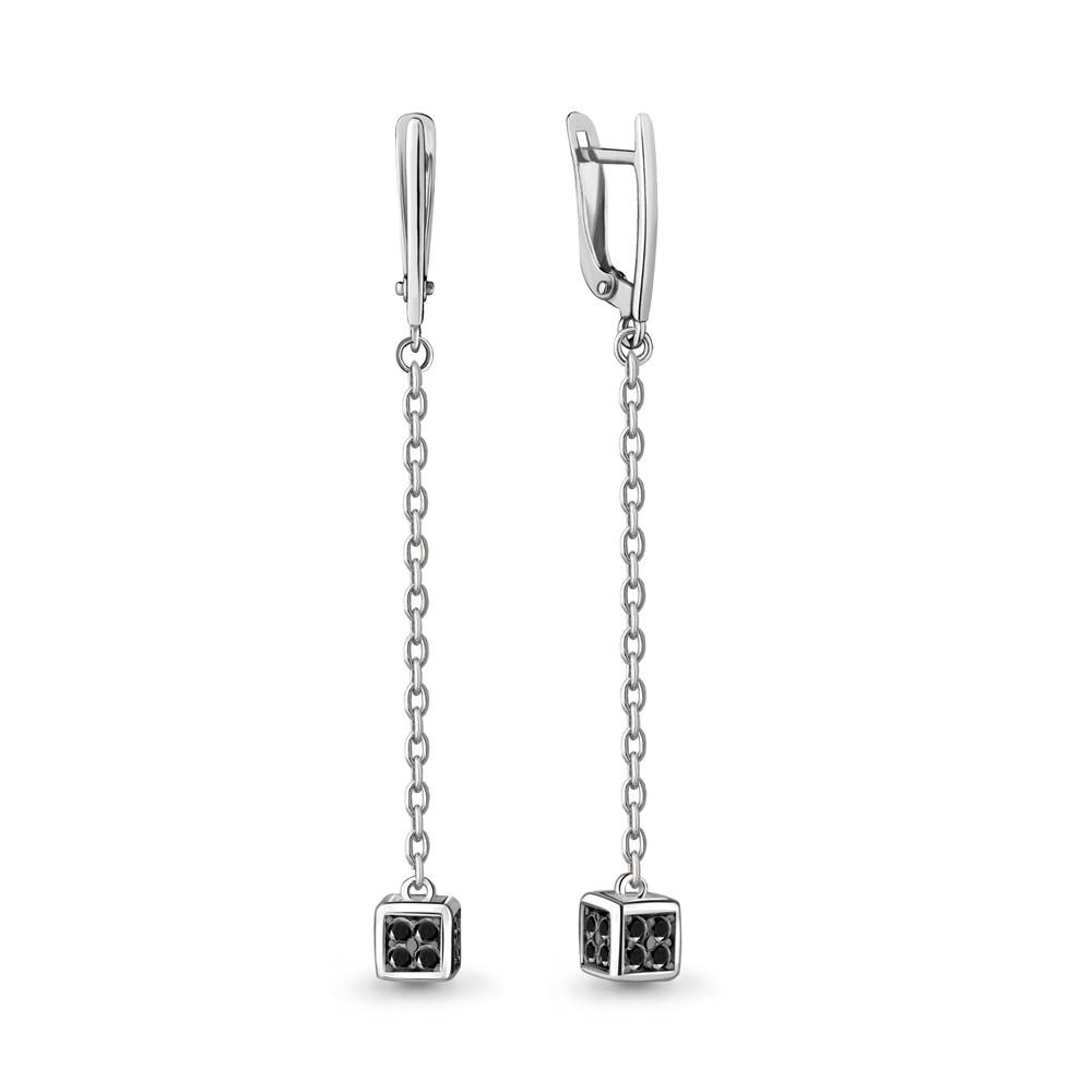 Серебряные Серьги-подвески с нанокристаллом синт. AQUAMARINE (#712501)