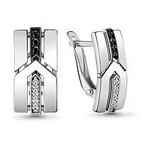 Серебряные серьги-классические с нанокристаллом синт. AQUAMARINE (#716992)