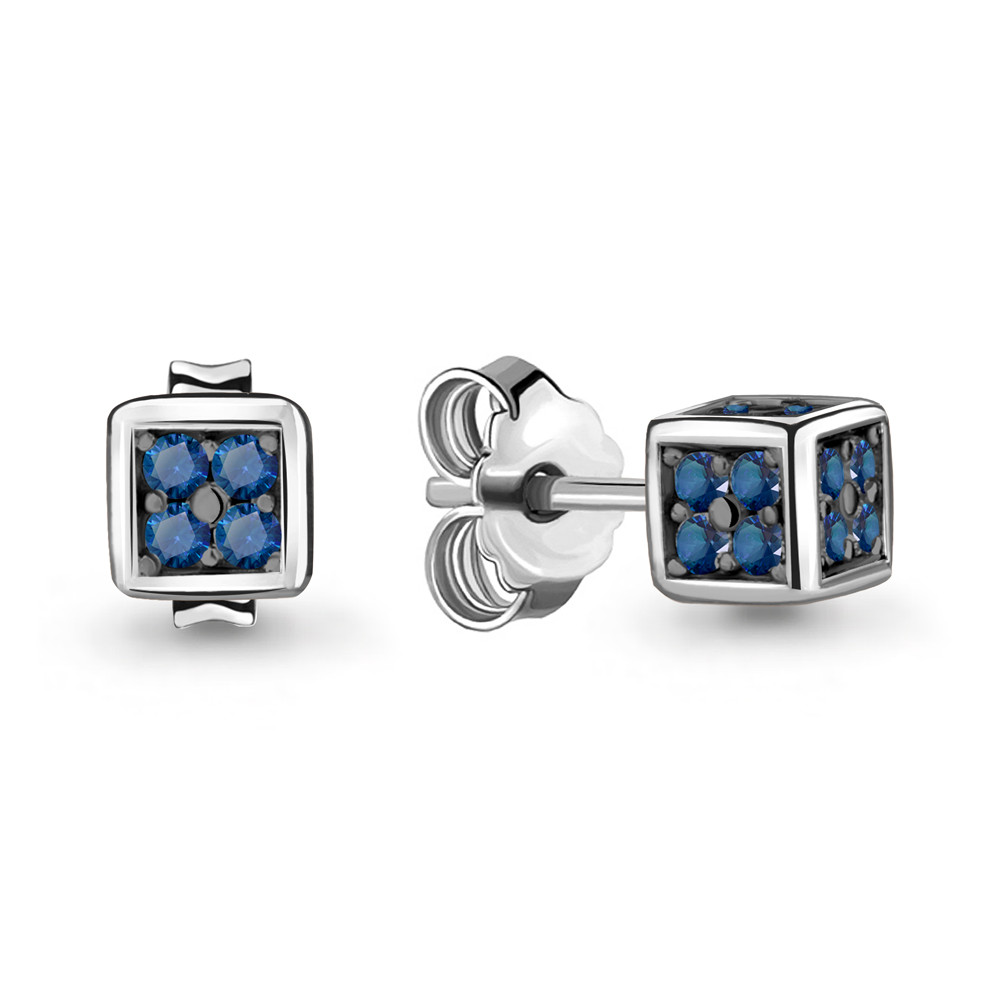 Серебряные серьги-пуссеты с наносапфиром синт. AQUAMARINE (#717235)