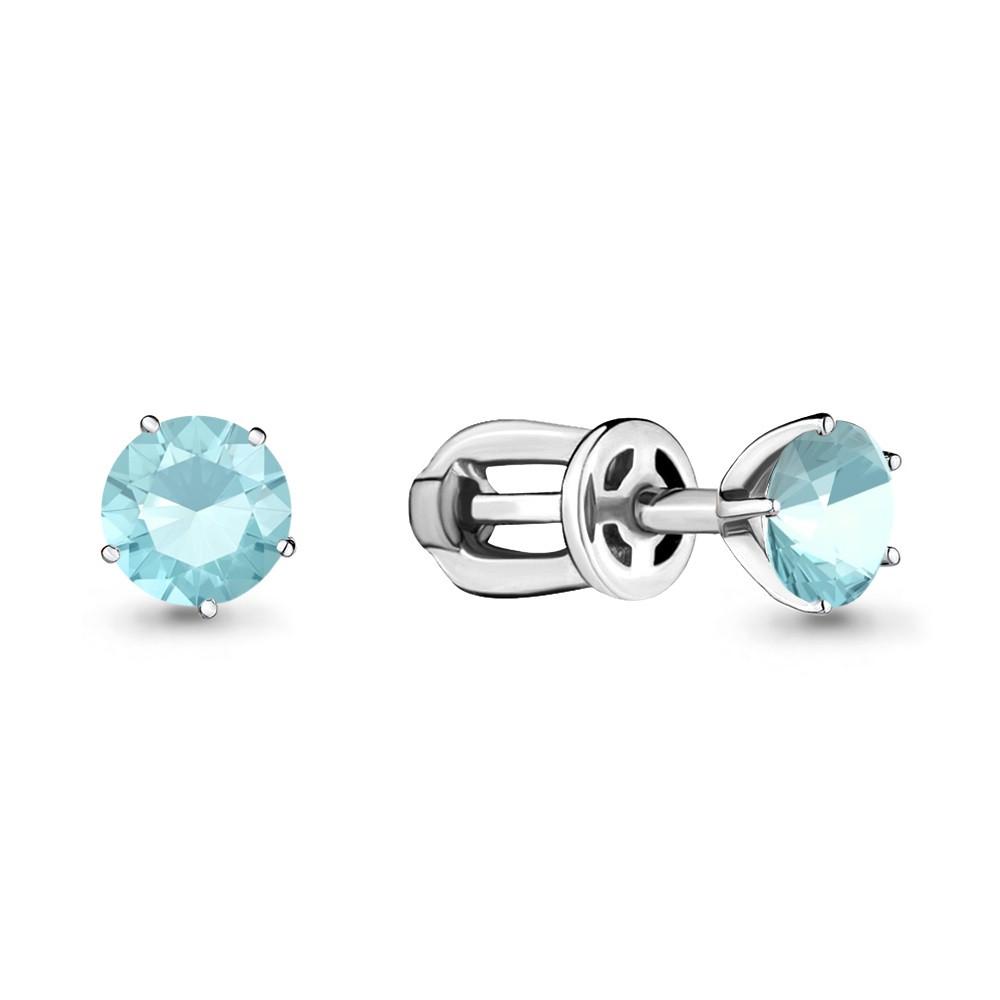 Серебряные серьги-пуссеты со стеклом AQUAMARINE (#689103)