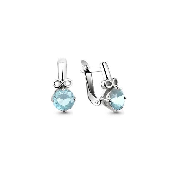 Серебряные Серьги-подвески со стеклом AQUAMARINE (#657376)