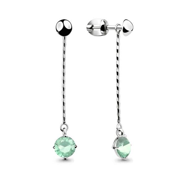 Серебряные серьги-протяжки со стеклом AQUAMARINE (#657304)