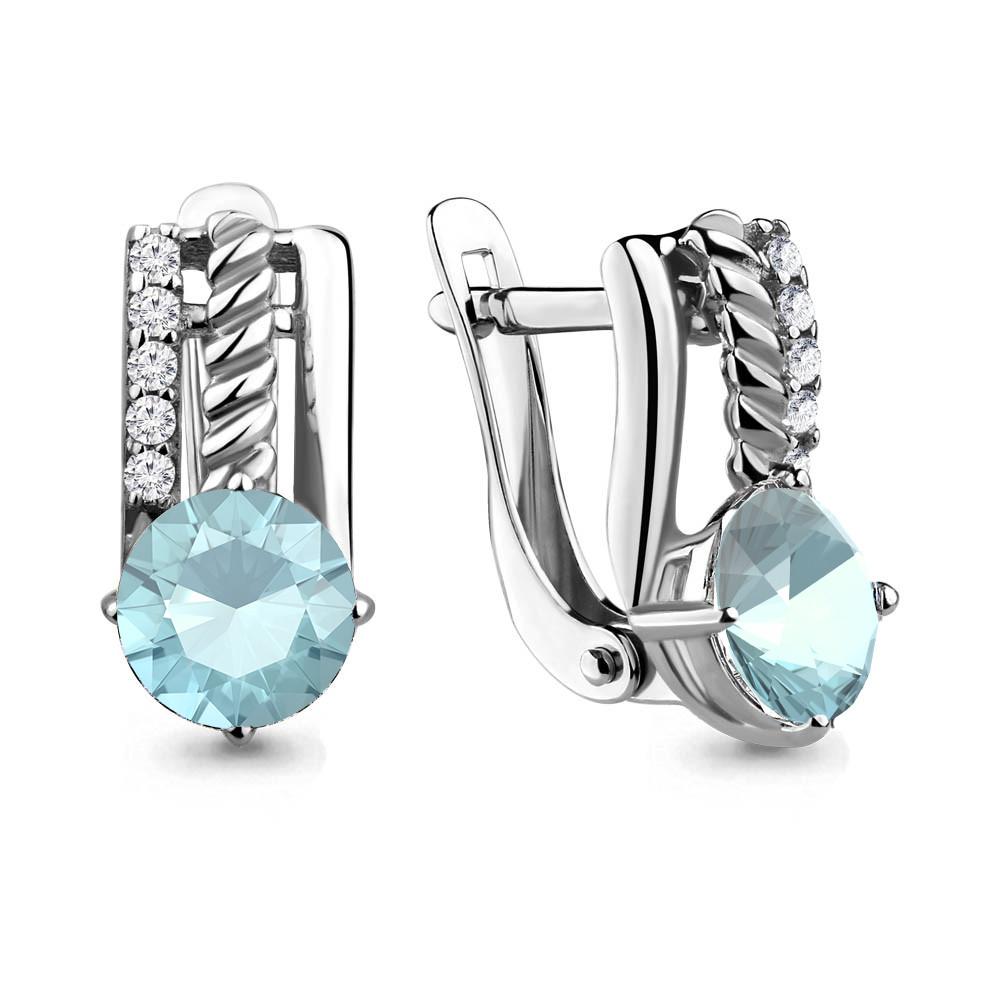 Серебряные серьги-классические со стеклом AQUAMARINE (#657303)