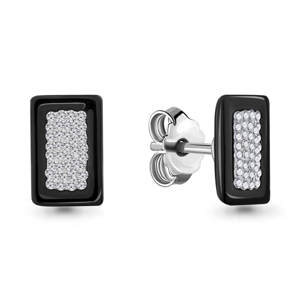 Серебряные серьги-пуссеты со стеклом и керамикой AQUAMARINE (#689980)
