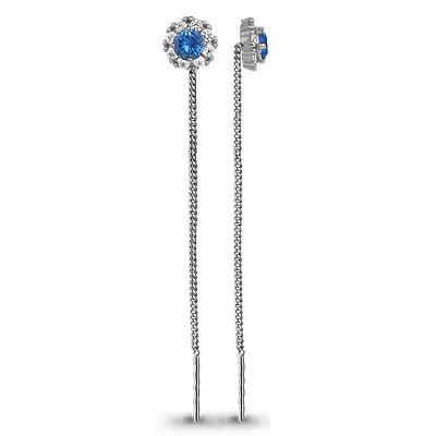Серебряные серьги-протяжки со стеклом и фианитом AQUAMARINE (#712463)