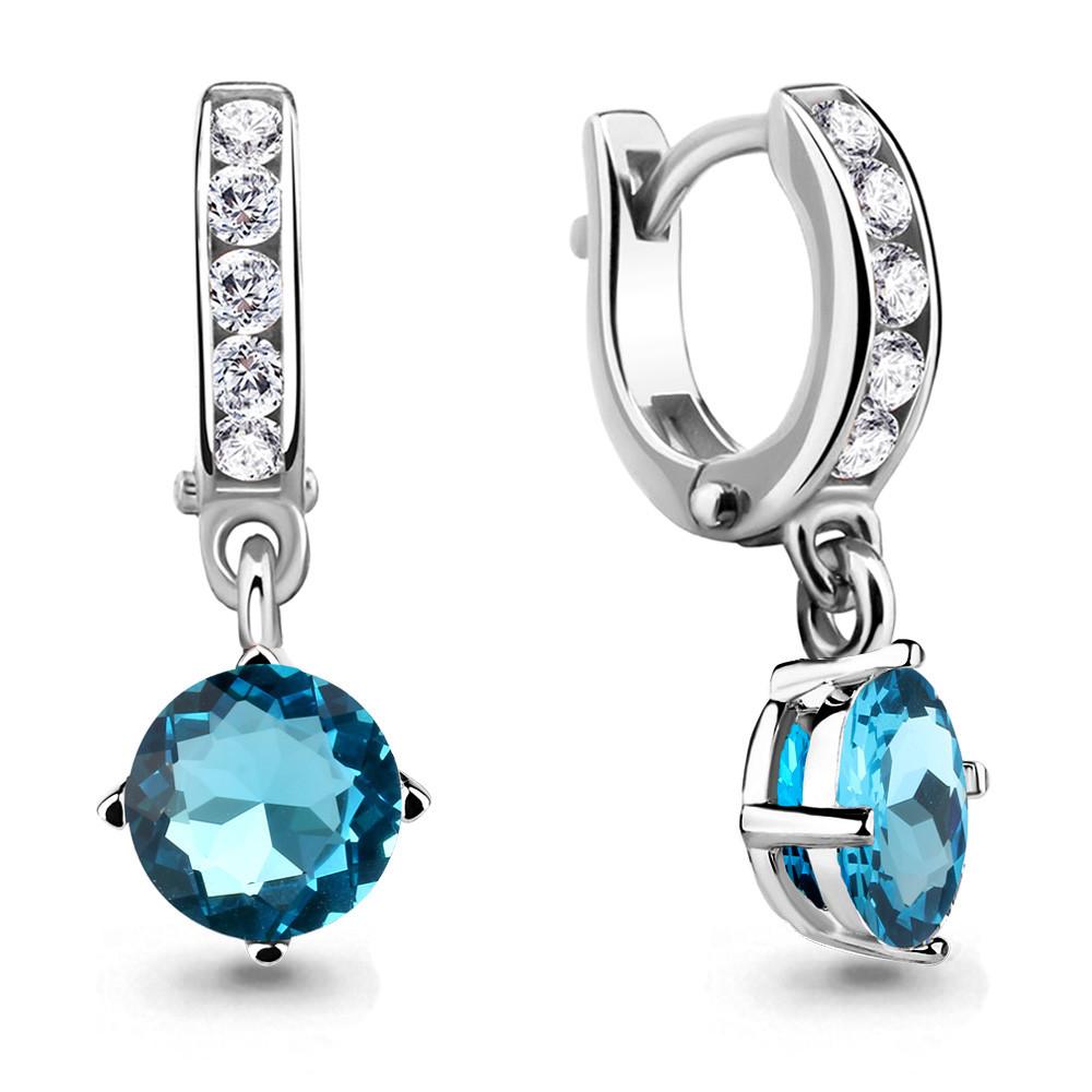 Серебряные Серьги-подвески со стеклом и фианитом AQUAMARINE (#651973)