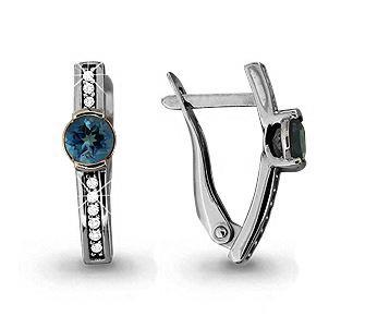 Серебряные серьги-классические с топазом и топазом лондон AQUAMARINE (#432201)