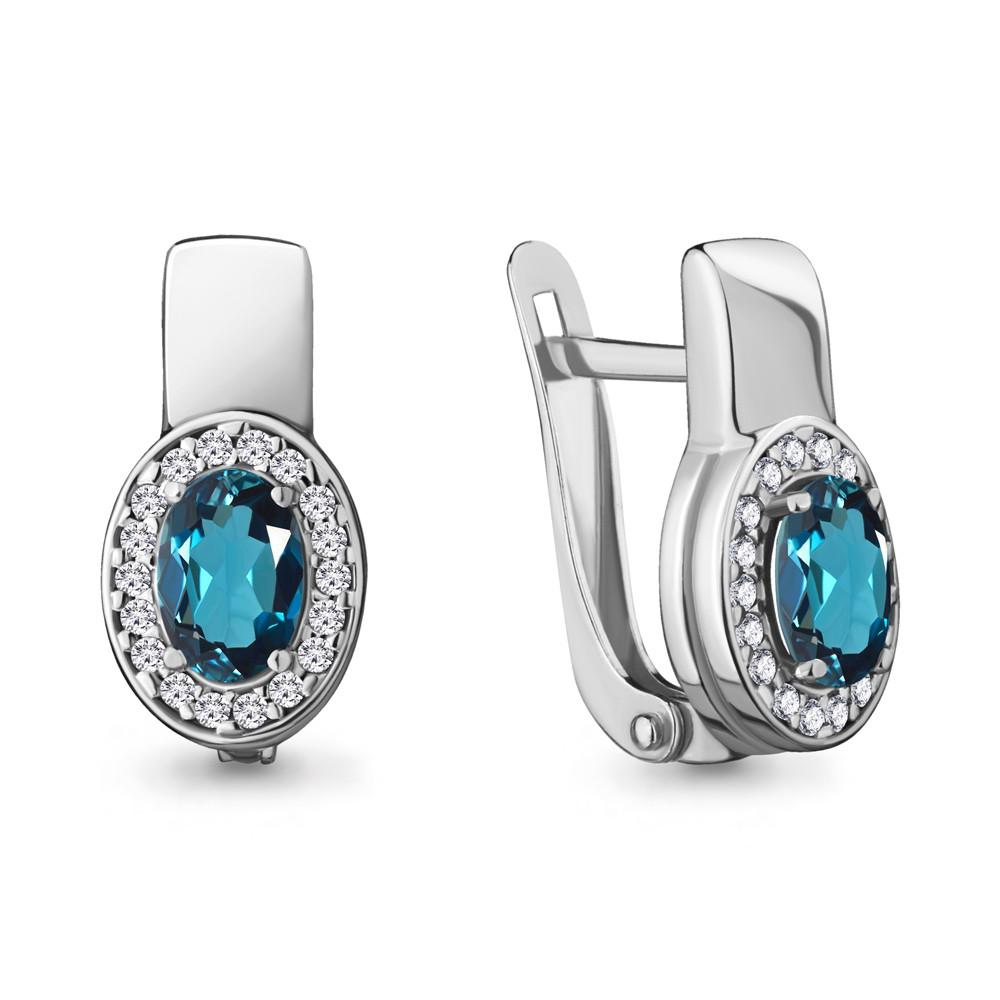 Серебряные  серьги-классические с топазом лондон и фианитом AQUAMARINE (#709040)