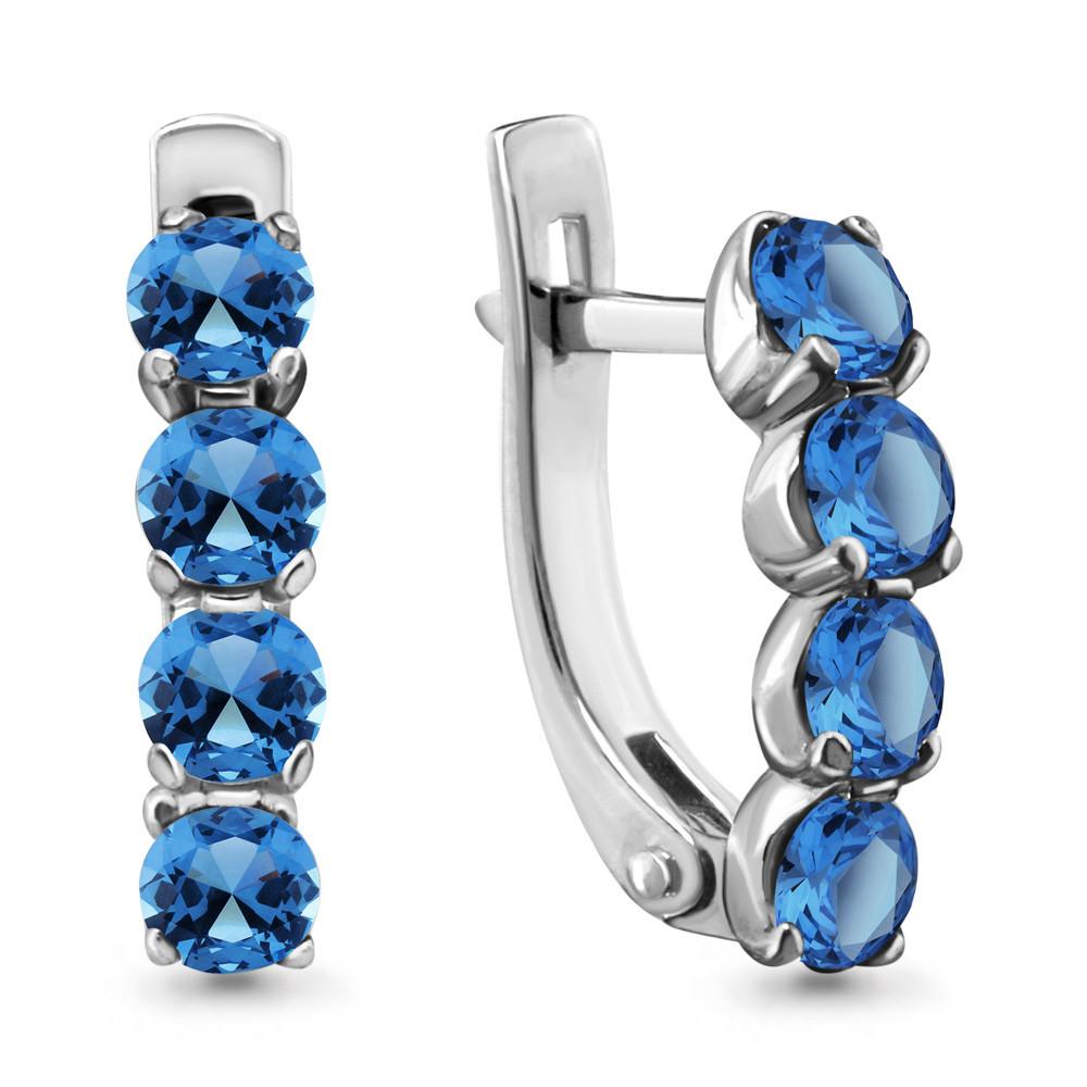 Серебряные серьги-классические с топазом лондон и фианитом AQUAMARINE (#447713)