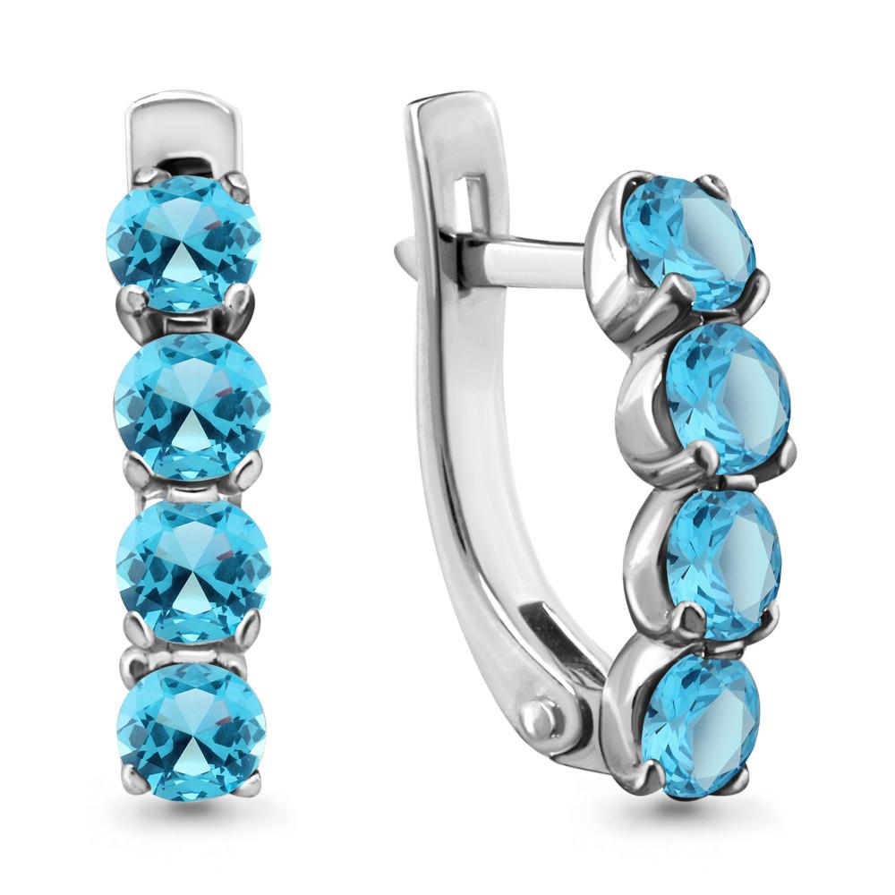Серебряные серьги-классические с топазом свисс и топазом AQUAMARINE (#407750)